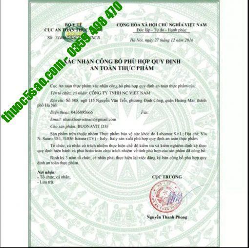 giấy phép công bố của bộ y tế cho buonavit D3F