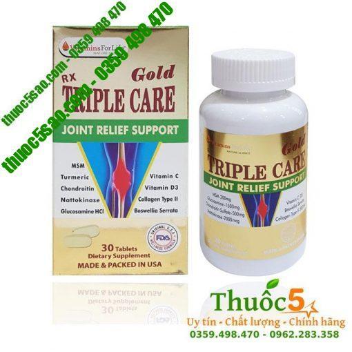 Triple Care Gold - Viên uống chăm sóc gân, cơ, sụn khớp, hộp 60 viên