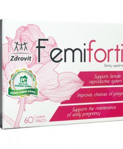 Femifortil tăng khả năng hấp thụ thai, bảo vệ thai nhi hộp 4 vỉ x 15 viên