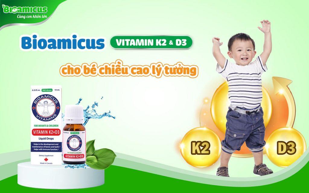 Bioamicus Vitamin D3+K2 giúp trẻ hấp thụ canxi tối đa