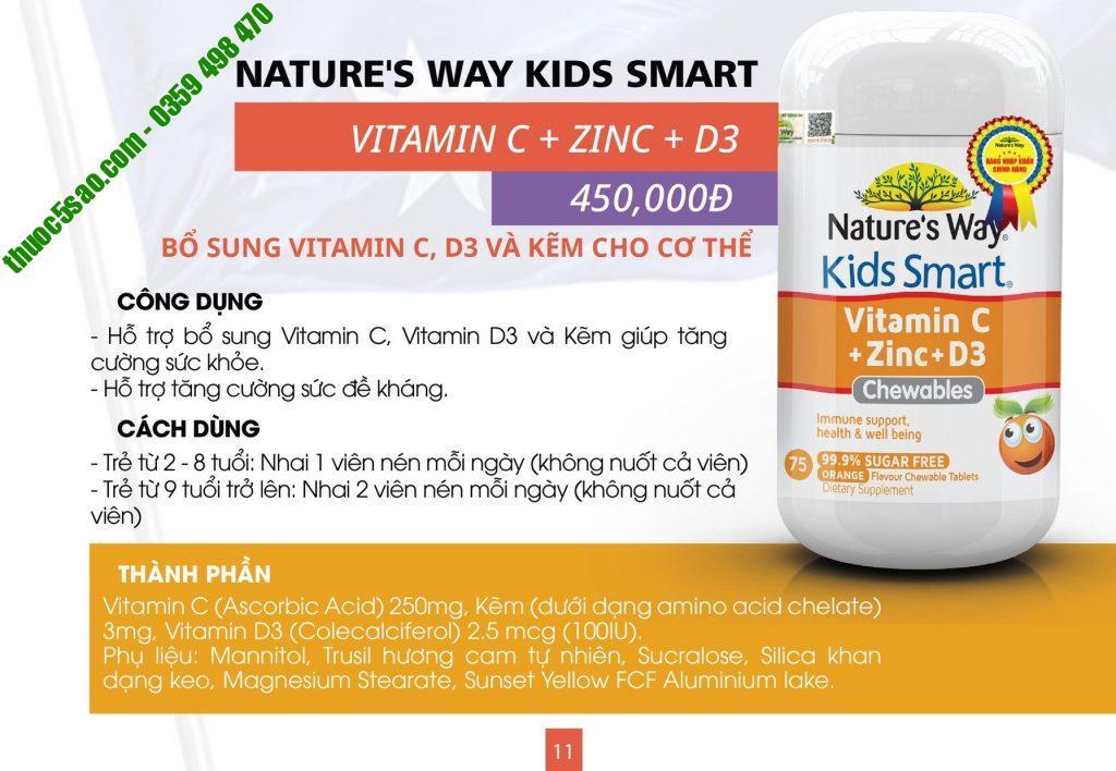 Kids Smart Vitamin C + Zinc + D3 bổ sung vitamin và khoáng chất cho bé lọ 75 viên
