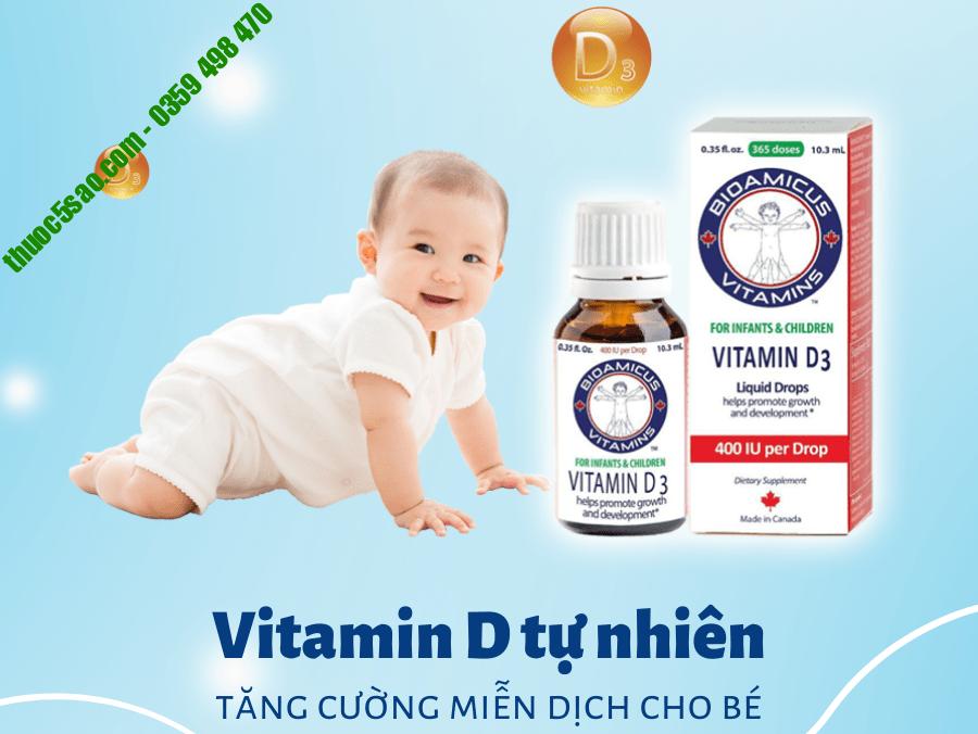 Bioamicus Vitamin D3+K2 tăng cường hệ miễn dịch cho bé