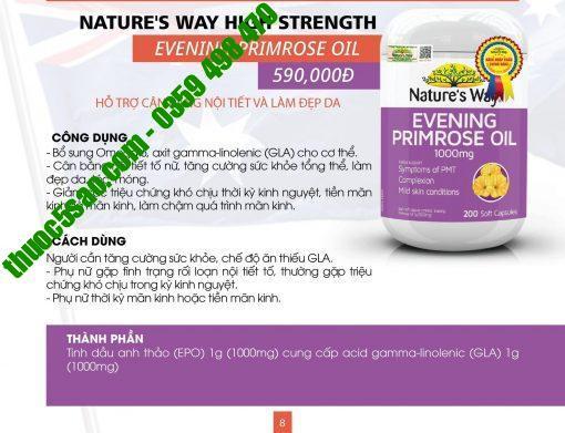 Evening Primrose Oil 1000mg giúp cân bằng nội tiết tố lọ 60 viên
