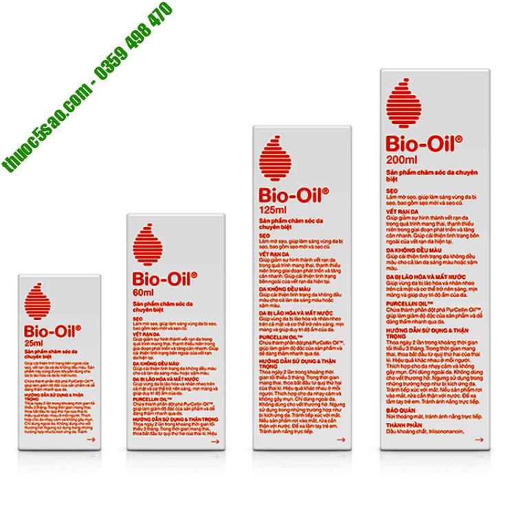 Bio-Oil 200ml giúp giảm rạn da, làm mờ sẹo có nhiều kích cỡ