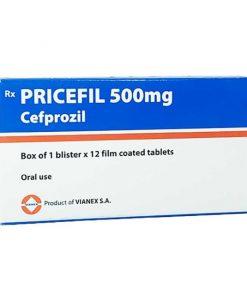 Pricefil 500mg hỗ trợ điều trị nhiễm khuẩn đường hô hấp hộp 12 viên
